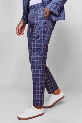 boohoo Summer Check Skinny Fit Suit Trousers