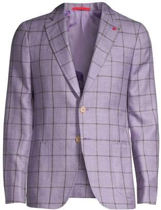 Isaia Summertime Windowpane Wool, Silk & Linen Single-Breasted Jacket