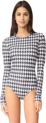 Cover Houndstooth Long Sleeve Swimsuit $190 thestylecure.com