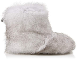 Jimmy Choo DALTON FLAT Black Fox Fur Boots with Rabbit Fur Lining