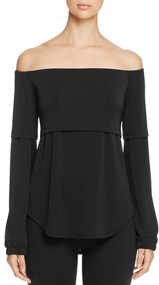 DKNY Off-the-Shoulder Layered-Look Blouse - 100% Exclusive $198 thestylecure.com