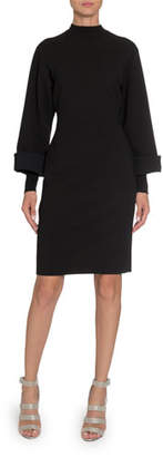 Alaia Long-Sleeve Mock-Neck Bodycon Dress