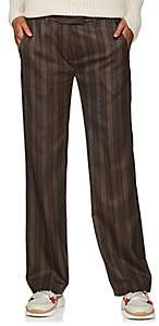 Boon The Shop Women's Striped Wool Flat-Front Trousers - Gray Pat.