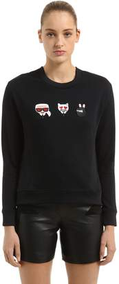 Karl Lagerfeld Emoji Patches Cotton Sweatshirt
