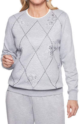Alfred Dunner At Ease Womens Crew Neck Long Sleeve Sweatshirt