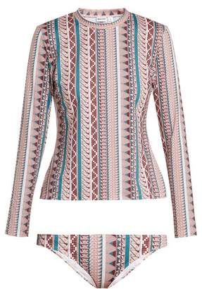Thorsun - Lillie Geometric Print Rash Guard Bikini - Womens - Pink Stripe