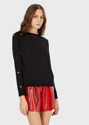 Emporio Armani Plain-Knit, Wool-Blend Sweater With Embroidered Mini Eagles