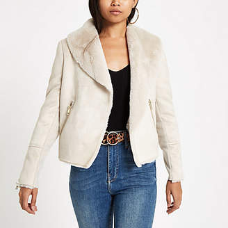River Island Petite cream faux fur lined fallaway jacket