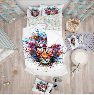 Designart 'Colorful Tiger In Glasses' Modern Kids Duvet Cover Set - Twin Bedding