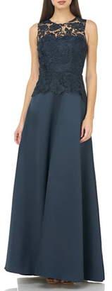 Carmen Marc Valvo Lace Bodice Evening Dress