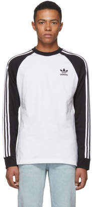 adidas Black and White Long Sleeve 3-Stripes T-Shirt