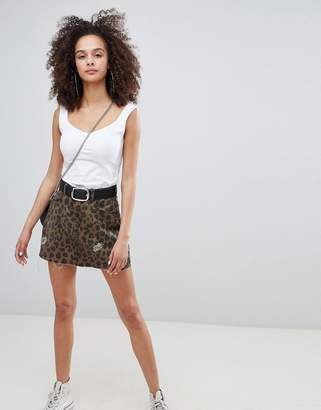 Bershka leopard print denim skirt
