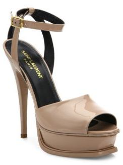 Saint Laurent Tribute Patent Leather Peep Toe Platform Sandals