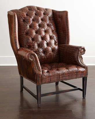Old Hickory Tannery Aidan Tufted-Leather Wing Chair
