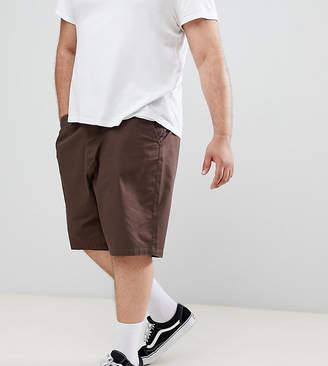 Asos DESIGN Plus slim longer shorts in dark brown