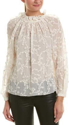 Rebecca Taylor Ellie Embroidered Silk-Blend Top