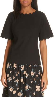 Rebecca Taylor Scalloped Short Sleeve Top