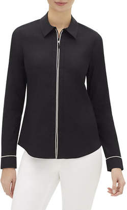 Lafayette 148 New York Pierce Zip-Front Long-Sleeve Blouse with Chain Trim