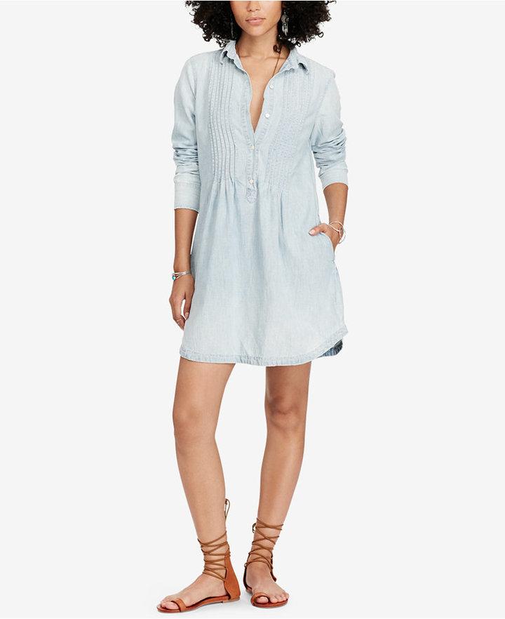 Denim & Supply Ralph Lauren Pintucked Chambray Cotton Dress 3