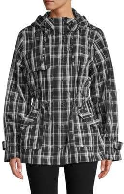 Calvin Klein Plaid Hooded Trench Coat