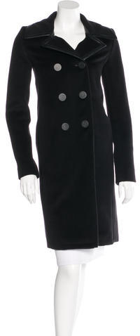 Balenciaga  Balenciaga Leather-Trimmed Wool Coat