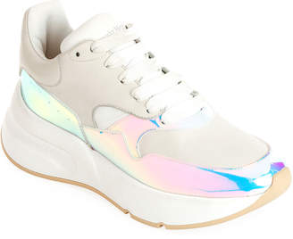 Alexander McQueen Leather and Holographic Lace-Up Platform Sneakers