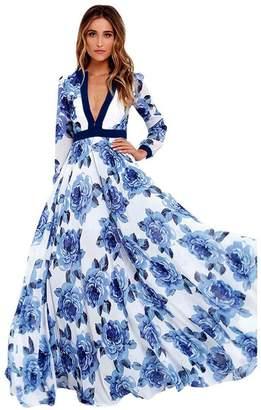 Sumen Women Floral Print Boho Dress Ladies Evening Party Long Maxi Dress (XL, )