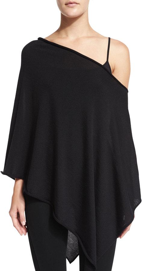 Ralph Lauren Collection Off-The-Shoulder Asymmetric Poncho, Black