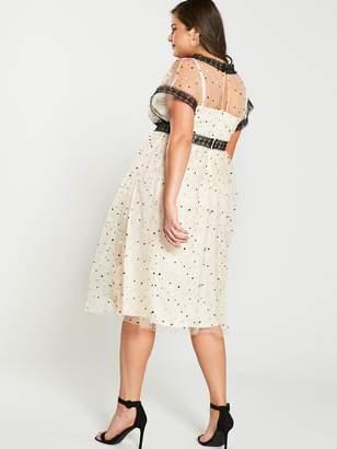 3ee90809f6110 Little Mistress Curve Spot Mesh Wrap Dress - Cream Black