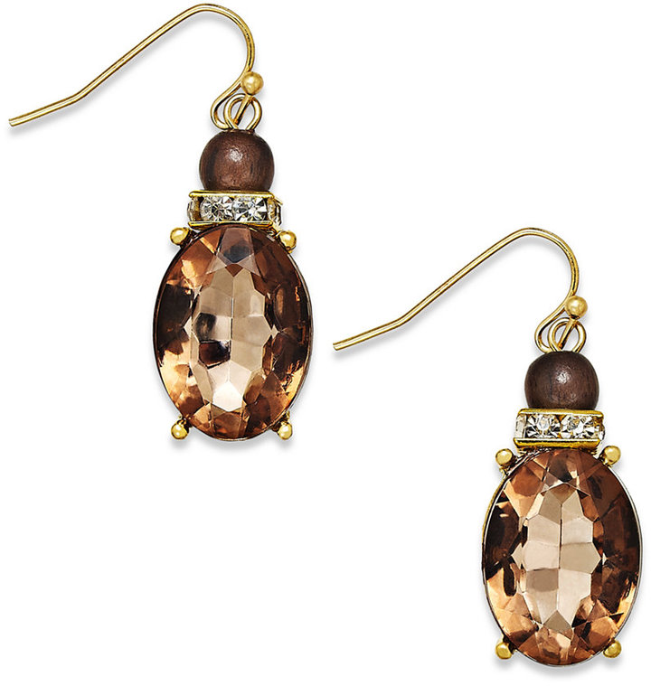 INC International Concepts Gold-Tone Crystal Natural Oval Drop Earrings