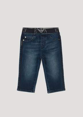Emporio Armani Jeans In Stretch Cotton With Logo Elasticated Band
