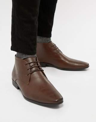 New Look Smart Chukka Boot In Dark Brown