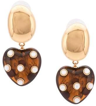 Lizzie Fortunato pearl heart drop earrings