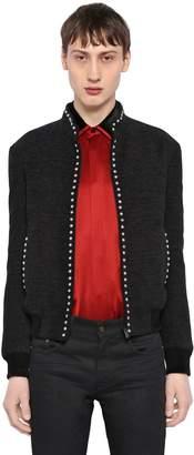 Saint Laurent Silk Velvet Teddy Jacket W/ Stud Trim