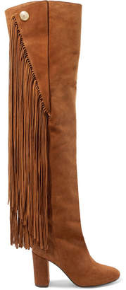 Chloé Qaisha Fringed Suede Over-the-knee Boots - Tan
