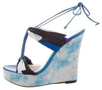 Emilio Pucci Printed Wedge Sandals