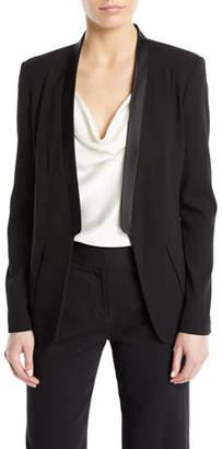 Halston Long-Sleeve Open-Front Wool Tux Blazer
