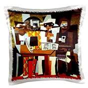 N. 3dRose Picasso Painting Musicians Masks, Pillow Case, 16 by 16-inch
