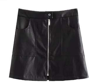 Goodnight Macaroon 'Beeru' Zip Front Faux Leather Mini Skirt