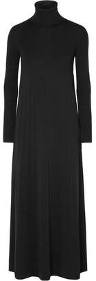 Max Mara Arlette Pleated Wool Turtleneck Maxi Dress - Black