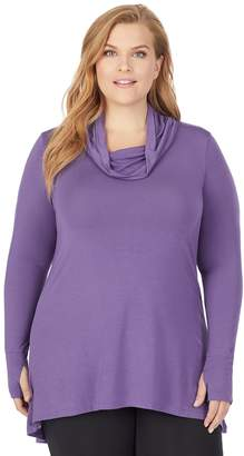 Cuddl Duds Women's Plus Size Softwear with Stretch Long Sleeve Cowl Tunic