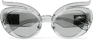 Miu Miu Cat-eye Crystal-embellished Acetate Sunglasses - Gray