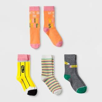 Cat & Jack Girls' 4pk Pencil Print Crew Socks