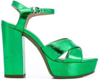 Pollini green platform sandals