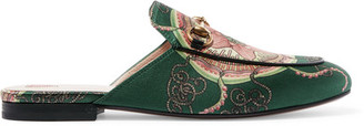 Gucci - Princetown Horsebit-detailed Printed Satin Slippers - Green $695 thestylecure.com