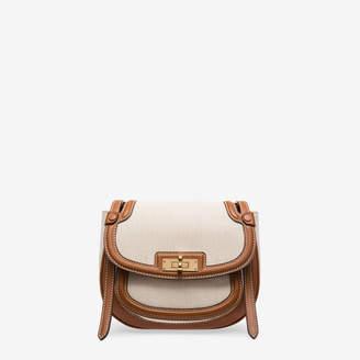 Bally B Turn Saddle Bag Medium Brown, Women's fabric saddle bag in natural