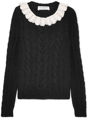 Philosophy di Lorenzo Serafini Crocheted Lace-trimmed Cable-knit Sweater