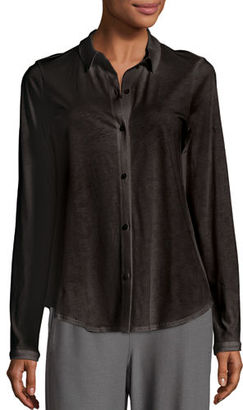 Eileen Fisher Classic Collared Cotton Shirt, Petite $138 thestylecure.com