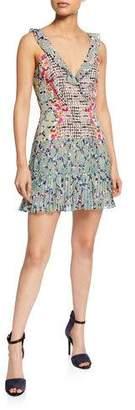 Saloni Amy Sleeveless Silk Short Dress, Multi