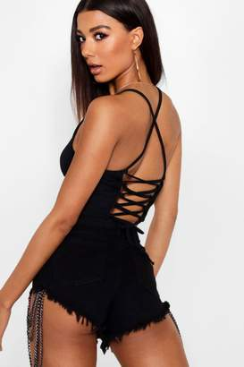 boohoo Rib Square Neck Strappy Crop Top